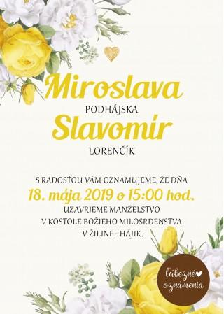Oznámenie Žlté ruže