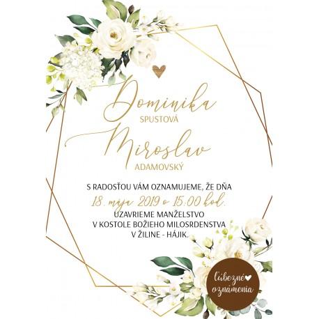 3c843d01738f Oznámenie Biele ruže 01 - Ľúbezné Oznámenia - svadobné oznámenie z lásky