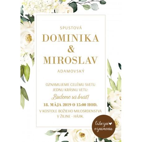 f1ad97328b09 Oznámenie Biele ruže 02 - Ľúbezné Oznámenia - svadobné oznámenie z lásky