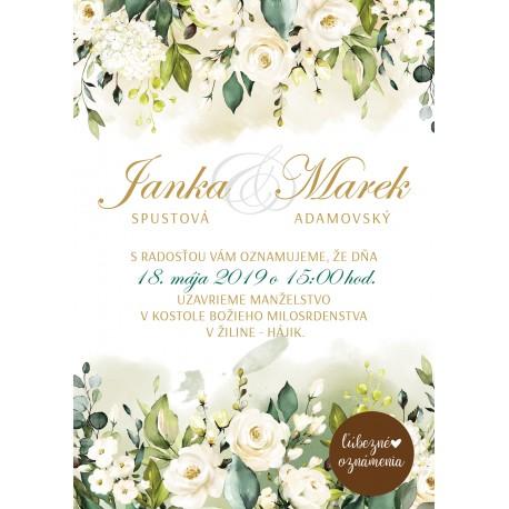 21f8348edad4 Oznámenie Biele ruže 03 - Ľúbezné Oznámenia - svadobné oznámenie z lásky