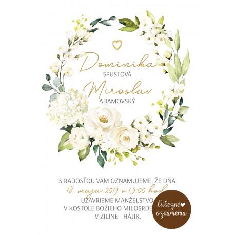 68bd1e260b9f Oznámenie Biele ruže 07 - Ľúbezné Oznámenia - svadobné oznámenie z lásky